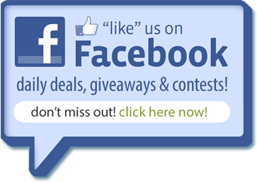 Like us on Facebook! Receive daily deals, giveaways & contests. Don't miss out! Click here now.