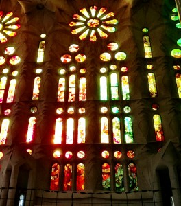 Stained glass windows from inside the Sagrada Familia